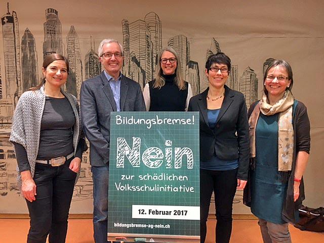 Von links: Alexandra Kölz, Martin Steinacher, Monika Consoni, Colette Basler, Antonia Grimm. Foto: zVg