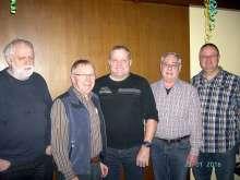 Der neue Vorstand  (von links):  M. Dietiker, Kassier; A. Ruoss, Beisitzer; H.P. Rehmann, Präsident; F. Michel, Aktuar; L. Kolbeck, Vizepräsident.