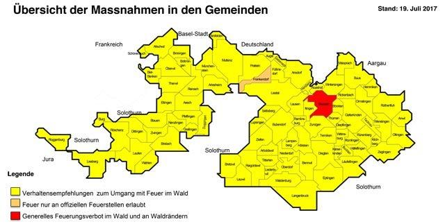 Übersicht der Massnahmen in den Gemeinden BL