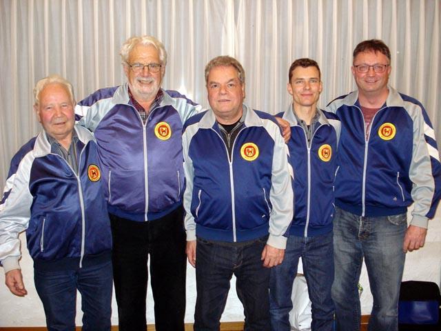 Der neue Präsident und seine Vorgänger (von links): Ernst Amsler (1973-1979), Paul Treier (1979-2001), Acklin Markus (2001-2013) und Tobias Gander (2013-2019) und Reto Herzog. Foto: zVg