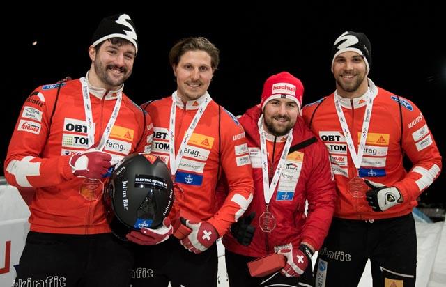 Siegerehrung Whistler (von links): Michi Vogt, Alain Knuser, Simon Friedli, Sandro Michel.